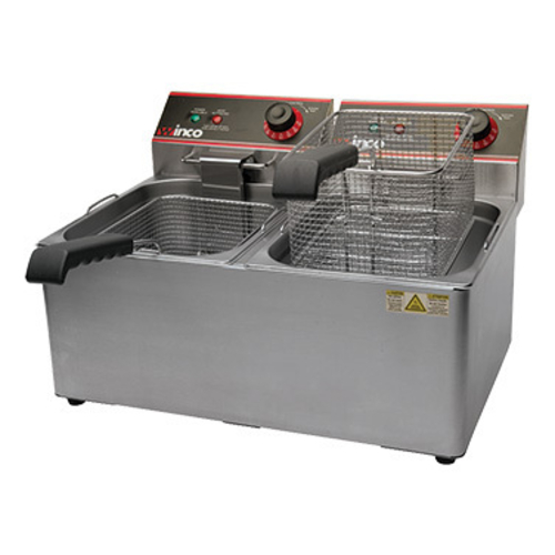 Winco EFT-32 Fryer, Countertop, 32 lbs Capacity, Double Well, Electric, 120v